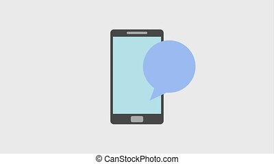 smartphone people in the speech bubble animation