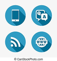 smartphone, pergunta, conversa, resposta, icon., bolha