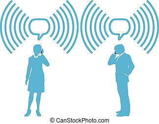 smartphone, persone affari, telefonare, fili, collegare