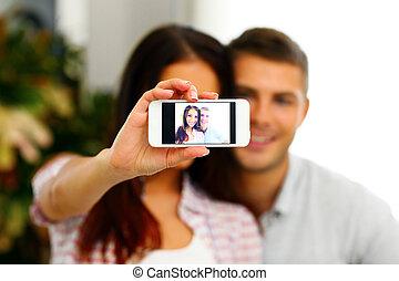 smartphone, photo, couple, foyer, smarphone., portrait, confection, selfie, heureux