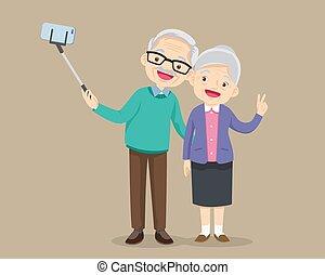 smartphone, photo, couple, personnes agées, confection, selfie