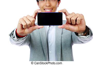smartphone, photo, foyer, asiatique, confection, homme, smartphone., heureux