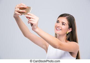 smartphone, photo, selfie, adolescent, femme, confection