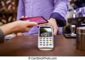 smartphone, photo, vendeur, terminal, acheteur, homme