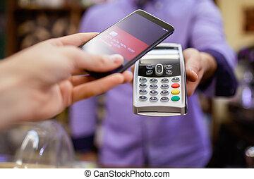 smartphone, photo, vendeur, terminal, paye, acheteur, homme