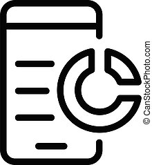 Smartphone pie chart icon, outline style