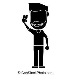 smartphone, piktogram, używając, człowiek, wąsy, broda