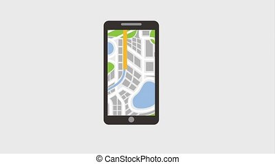 smartphone pin map gps navigation digital