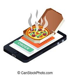 Smartphone pizza order icon, isometric style