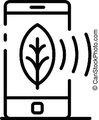 Smartphone plant control icon, outline style
