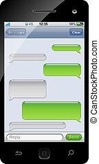 smartphone, plantilla, sms, space., charla, copia