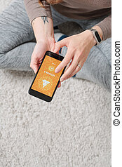 smartphone, podłoga, na, czynny, przebadany, siła robocza, samica, dzierżawa