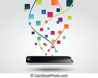 smartphone, pojęcie, apps, ikona