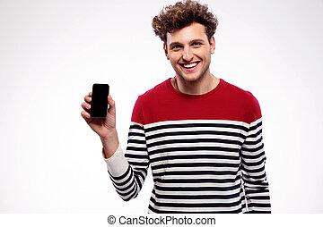 smartphone, pokaz, czysty, człowiek, wystawa, szczęśliwy