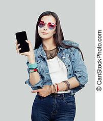 smartphone, pokaz, młoda kobieta, wystawa, opróżniać