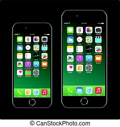 smartphone, pomme, téléphone, mobile, marque, réaliste, noir, iphone, 7, nouveau