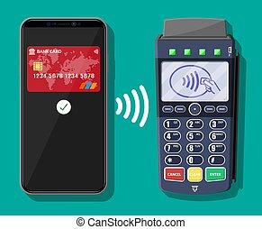 smartphone, pos, wpłata, transakcja, terminal