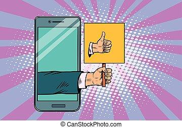 smartphone, pouce, geste, haut
