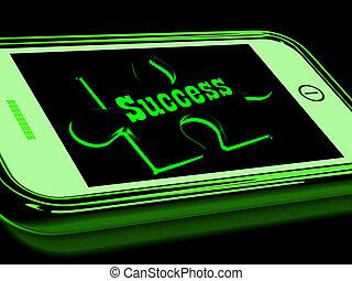 smartphone, powodzenie, postęp, widać