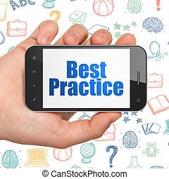 smartphone, praktijk, hand, concept:, vasthouden, opleiding, display, best