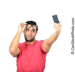 smartphone, prendre, jeune regarder, s, closeup, homme, beau