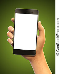 smartphone, presa a terra, mano