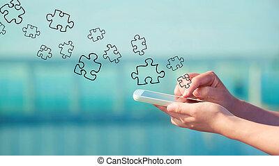 smartphone, problem, begrepp