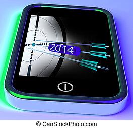 smartphone, progetti, frecce, futuro, 2014, mostra