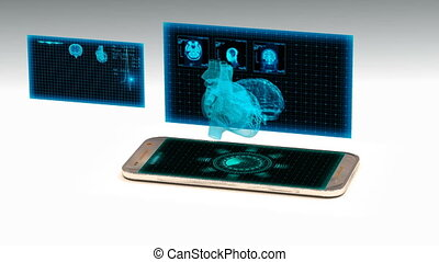 smartphone projects a hologram of the human heart, the concept of technology development in medicine