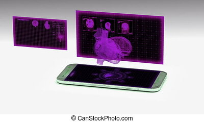 smartphone projects a hologram of the human heart, the concept of technology development in medicine.