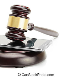 smartphone, proportion, caisse de résonnance, -, isolé, 1, juge, fond, entre, marteau, blanc