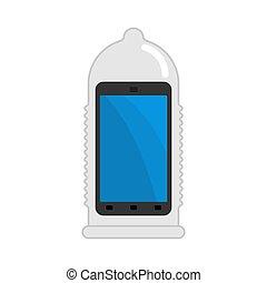 smartphone, proteção, contra, confiança, protection., telefone, vetorial, ilustração, preservativo, viruses.