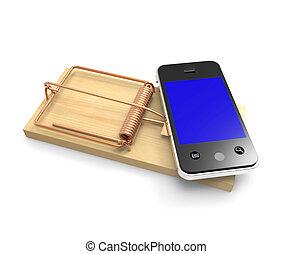 smartphone, pułapka myszy, 3d