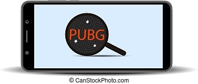 smartphone, pubg, スクリーン, 穴, 3, イラスト, バックグラウンド。, ゲーム, ベクトル, 揚がること, 白, パン, bullets.