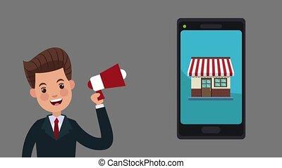 smartphone, publicité, ligne