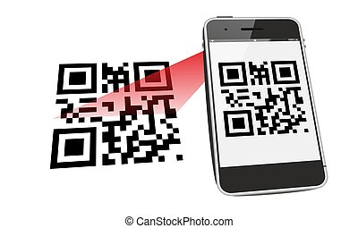 smartphone QR code scan with red laser beam