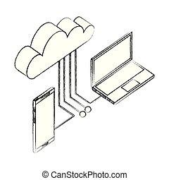 smartphone, réseau, calculer, ordinateur portable, connexion, données, nuage
