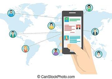 smartphone, réseau, -, main, concept, social