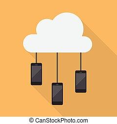 smartphone, réseau, nuage, calculer