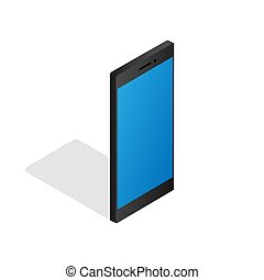 Smartphone realistic 3d vector isometric illustration in flat style on white background. EPS 10