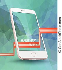 Perspective smartphone realistic mock-up on . Vector illustration.