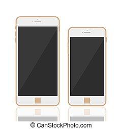smartphone, realistyczny, 3d, szablon