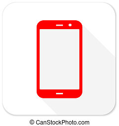 smartphone red flat icon with long shadow on white background