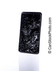 smartphone, reflexion, mobil, avskärma, bruten, vit