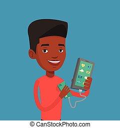 smartphone, reharging, ポータブル, battery., 人