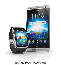 smartphone, reloj, elegante