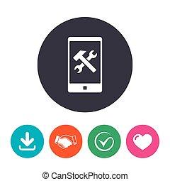 smartphone, rendbehozás, aláír, icon., szolgáltatás, jelkép.