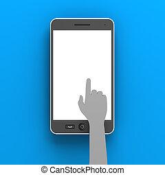 smartphone, render, cliqueter, copyspace, main, papier, 3d
