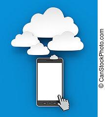 smartphone, render, copyspace, connecter, nuage, 3d