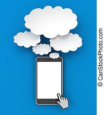smartphone, render, copyspace, pensée, bulles, 3d
